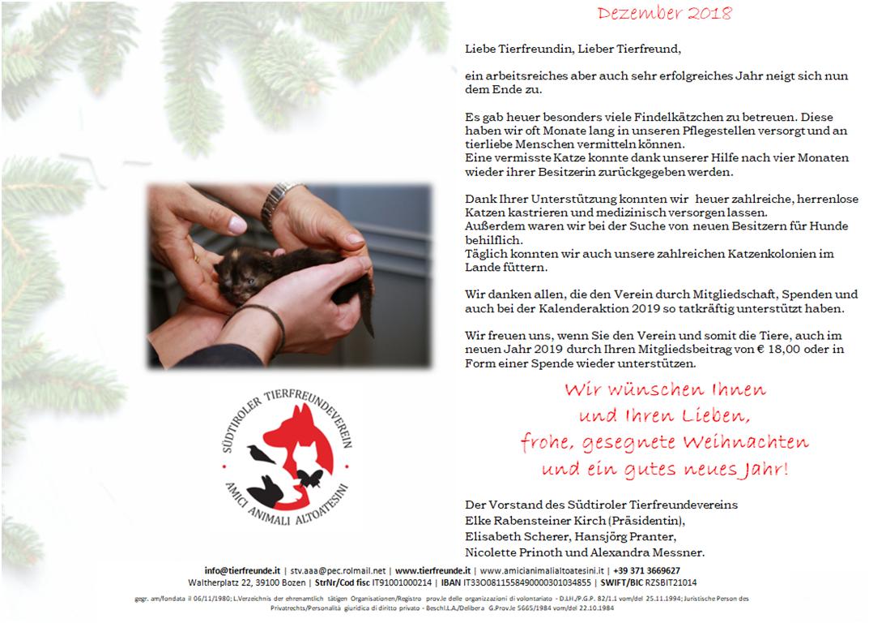 Weihnachtsgrüße An Sohn.Weihnachtsgrüße 2018 Südtiroler Tierfreundeverein